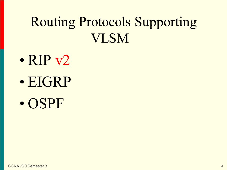 Routing Protocols Supporting VLSM