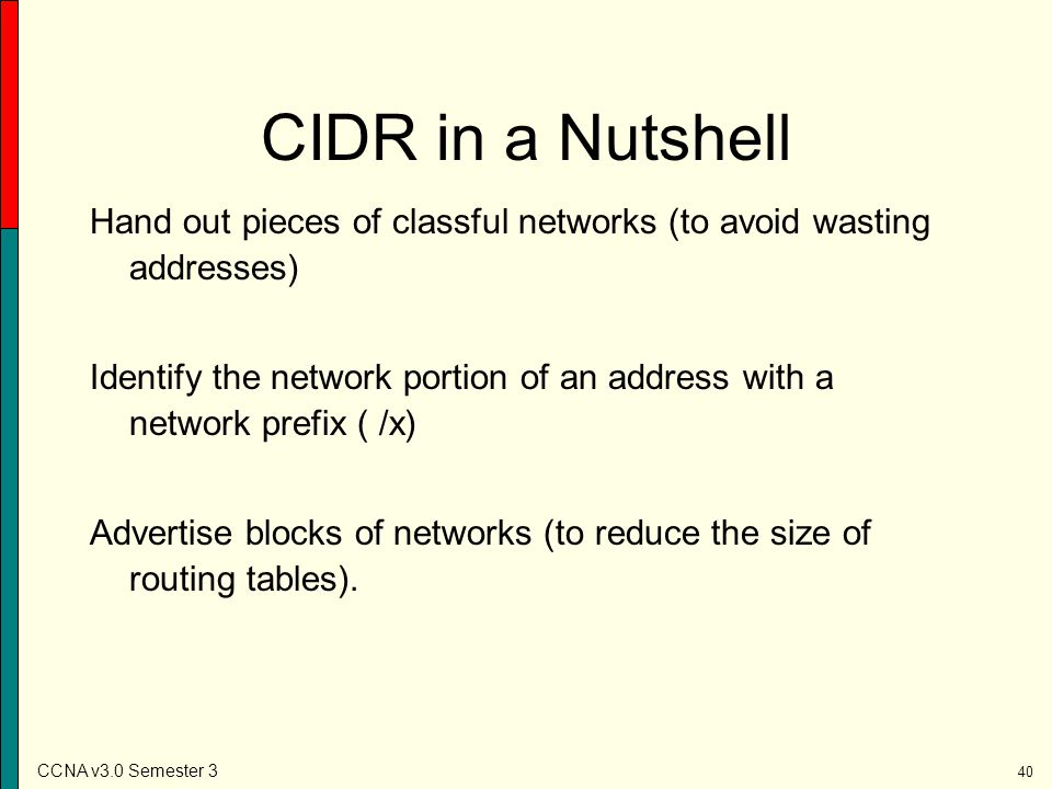 CIDR in a Nutshell Hand out pieces of classful networks (to avoid wasting addresses)