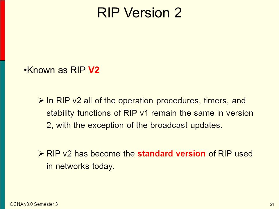 RIP Version 2 Known as RIP V2