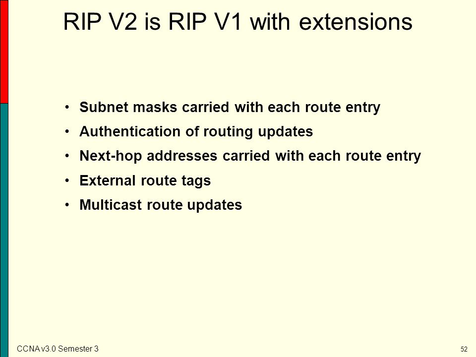 RIP V2 is RIP V1 with extensions