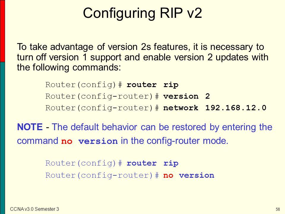 Configuring RIP v2