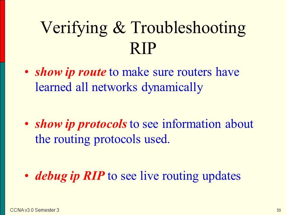 Verifying & Troubleshooting RIP