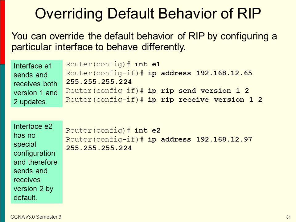 Overriding Default Behavior of RIP