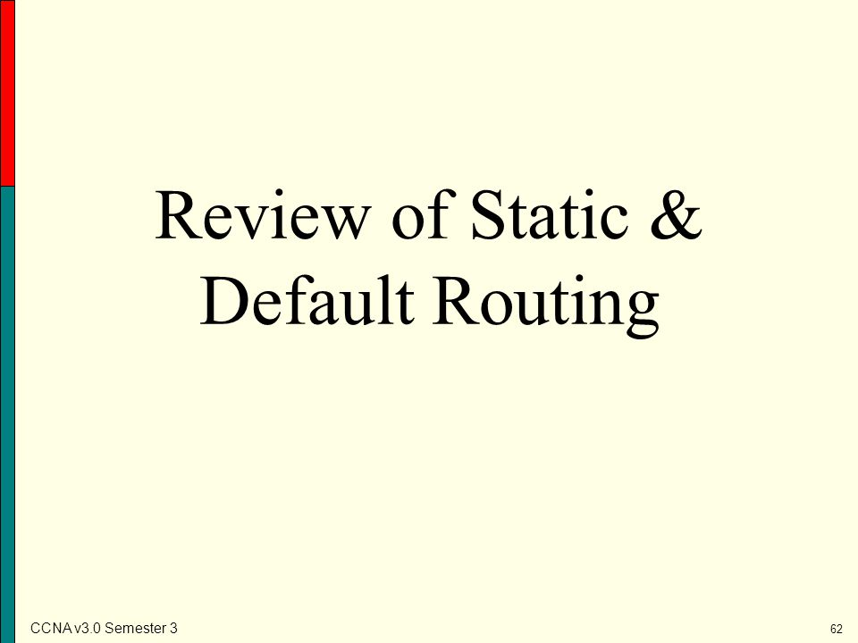 Review of Static & Default Routing