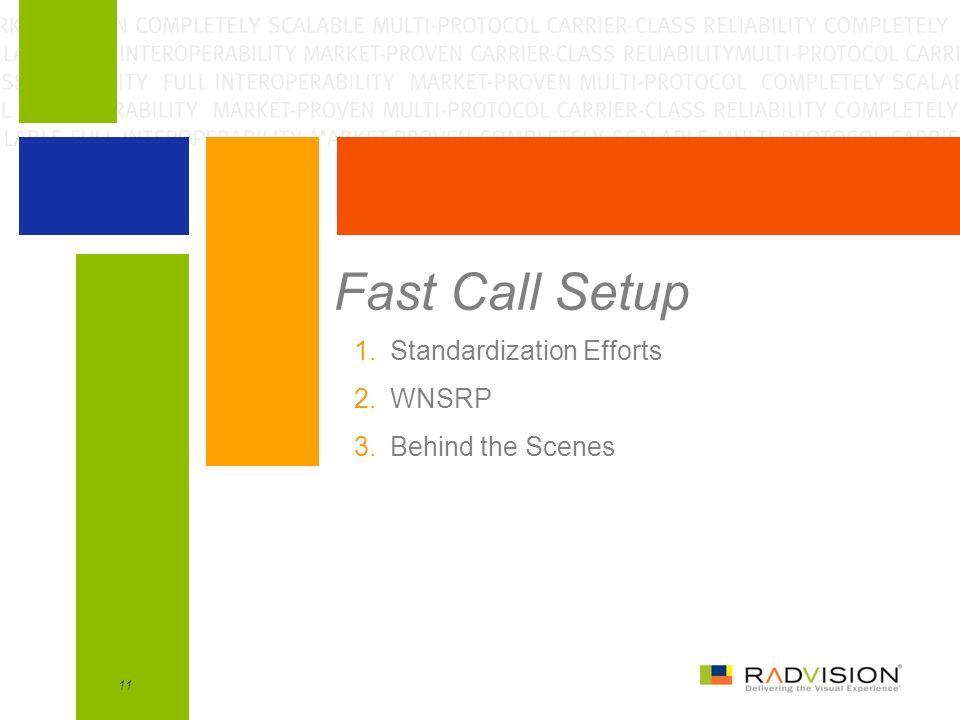 Fast Call Setup Standardization Efforts WNSRP Behind the Scenes