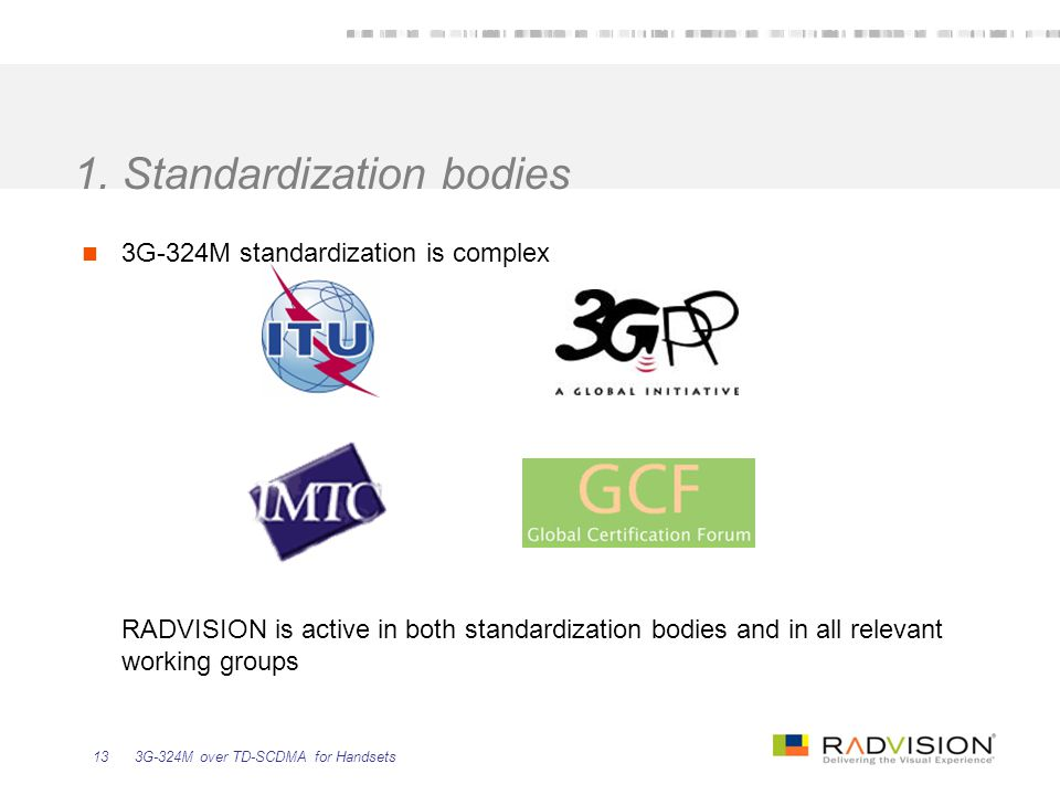 1. Standardization bodies