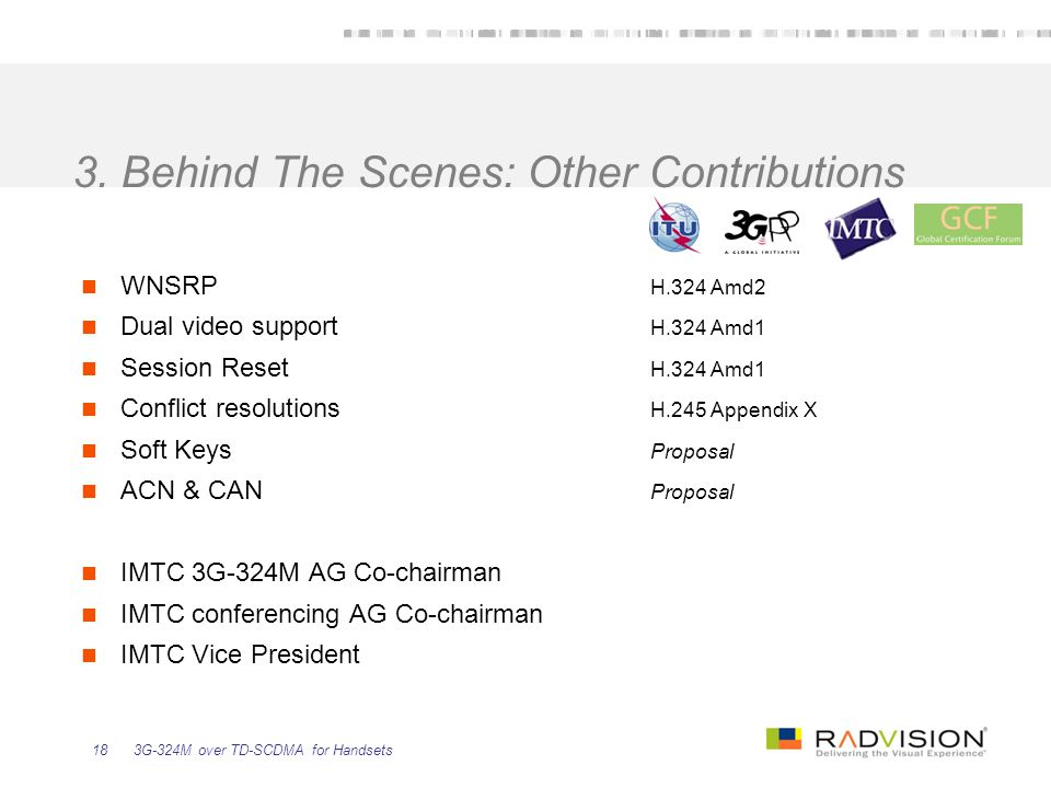 3. Behind The Scenes: Other Contributions
