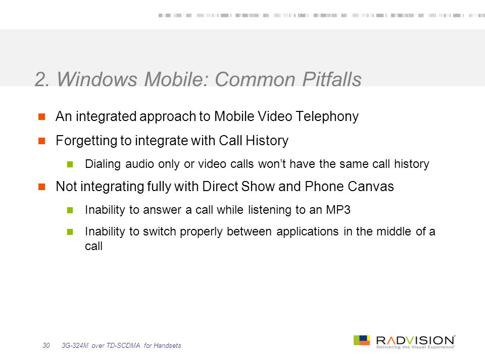 2. Windows Mobile: Common Pitfalls