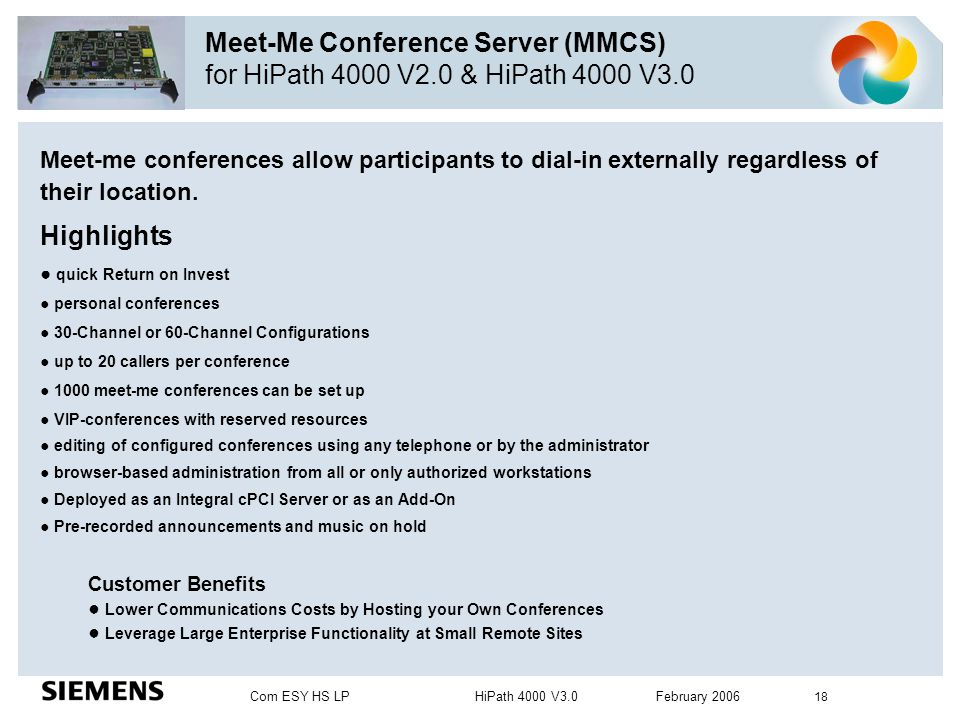Meet-Me Conference Server (MMCS) for HiPath 4000 V2.0 & HiPath 4000 V3.0