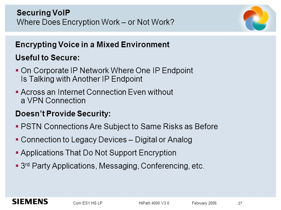 Securing VoIP Where Does Encryption Work – or Not Work