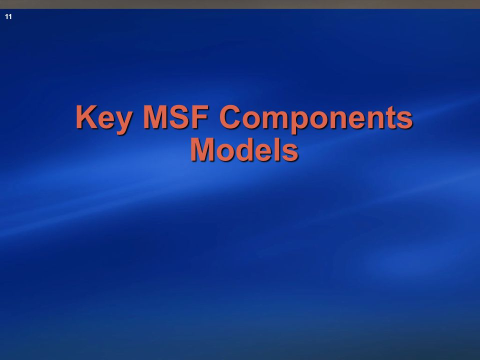 Key MSF Components Models