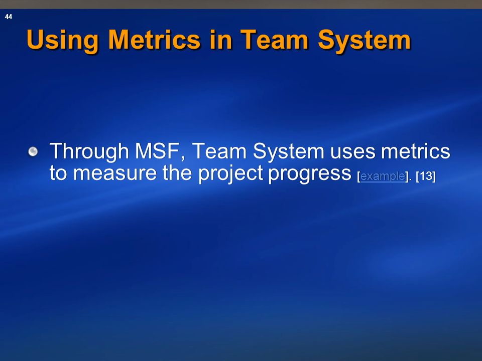 Using Metrics in Team System