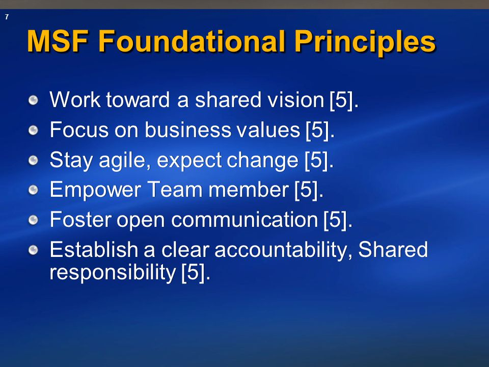 MSF Foundational Principles