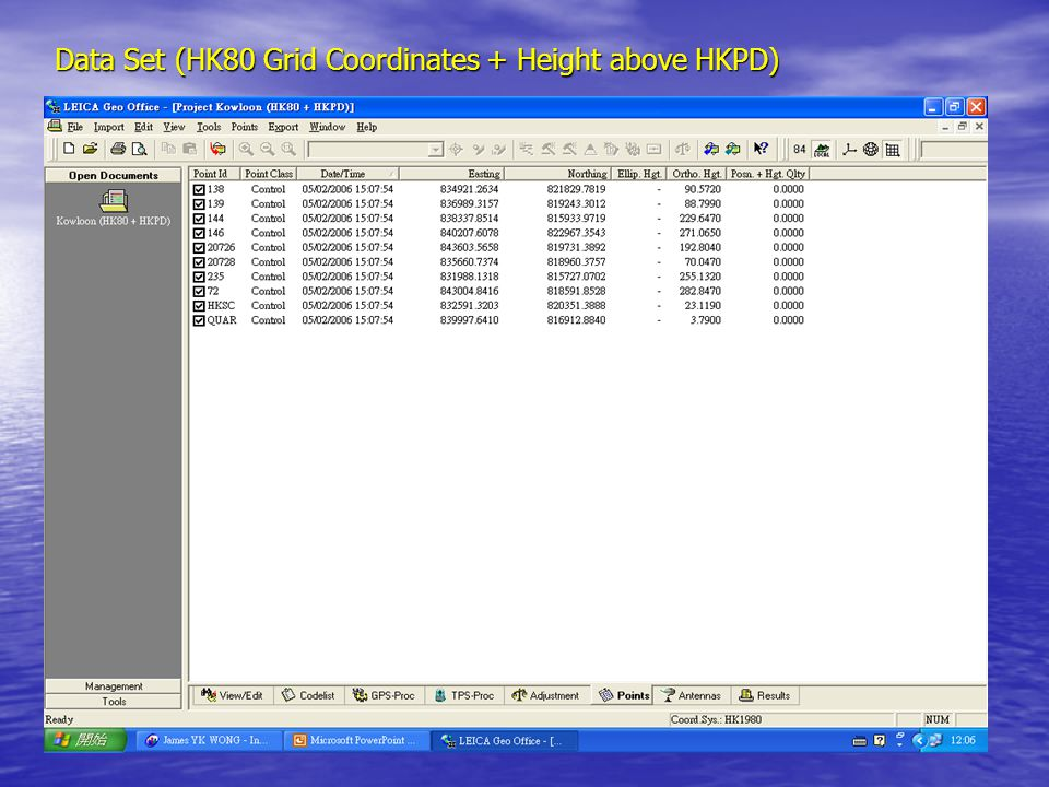 Data Set (HK80 Grid Coordinates + Height above HKPD)
