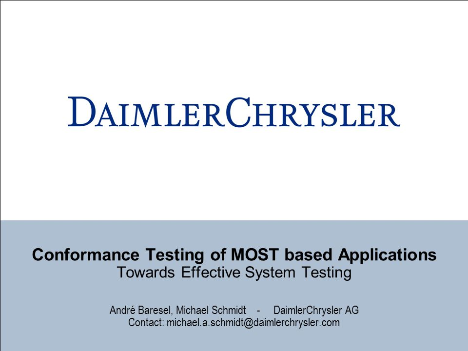 Conformance Testing of MOST based Applications Towards Effective System Testing