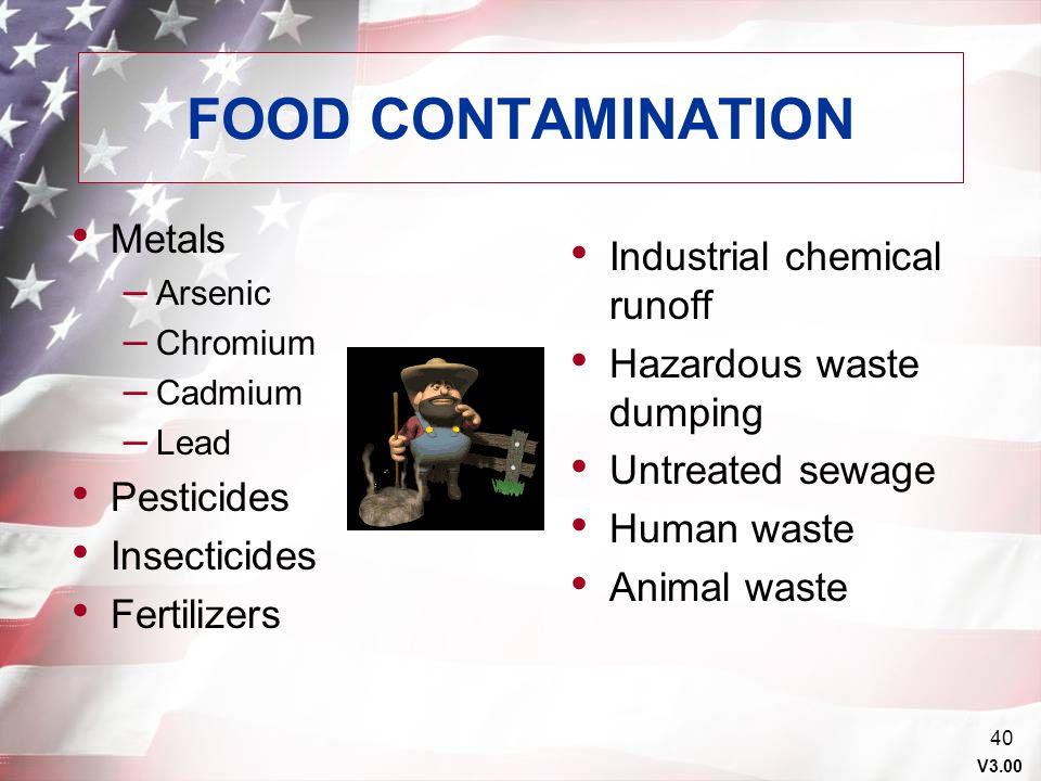 FOOD CONTAMINATION Metals Industrial chemical runoff
