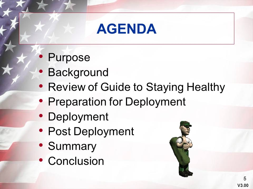AGENDA Purpose Background Review of Guide to Staying Healthy