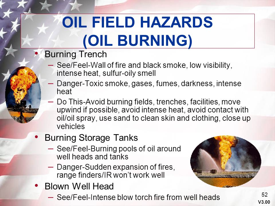 OIL FIELD HAZARDS (OIL BURNING)