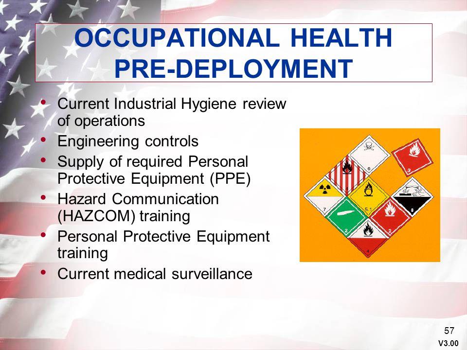OCCUPATIONAL HEALTH PRE-DEPLOYMENT