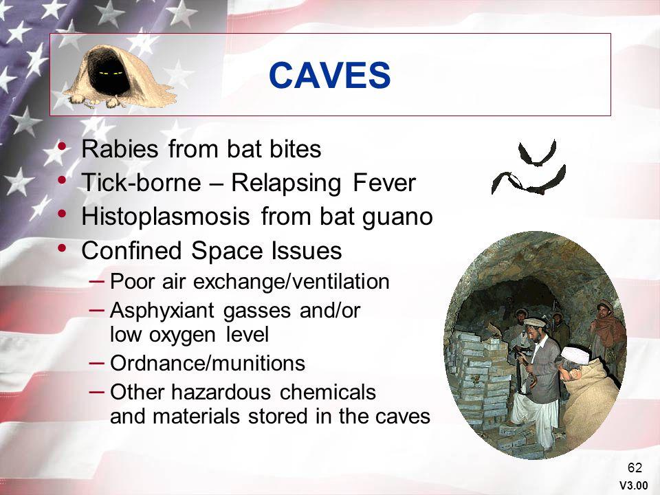 CAVES Rabies from bat bites Tick-borne – Relapsing Fever
