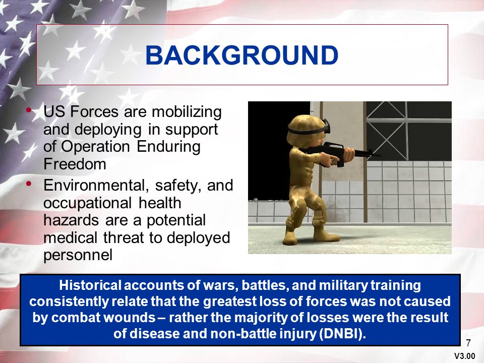 BACKGROUND US Forces are mobilizing and deploying in support of Operation Enduring Freedom.