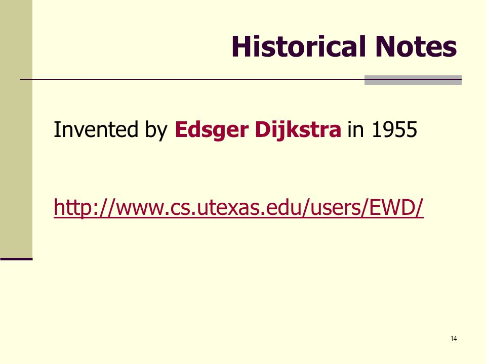 Historical Notes Invented by Edsger Dijkstra in 1955