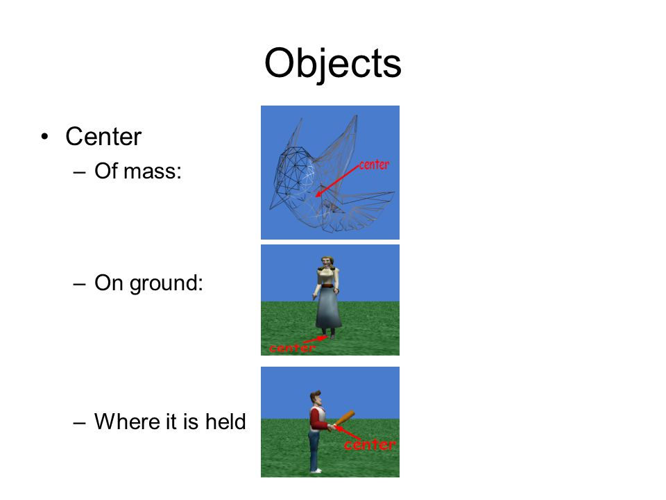 Objects Center Of mass: On ground: Where it is held