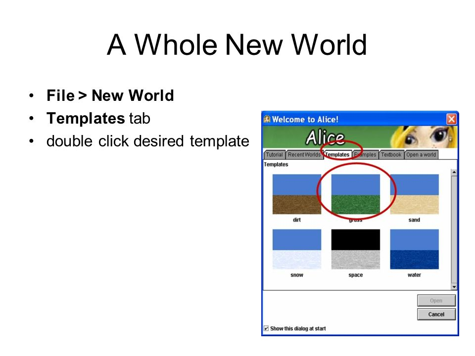 A Whole New World File > New World Templates tab