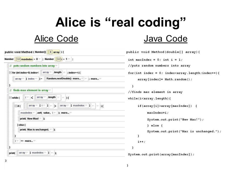 Alice is real coding Alice Code Java Code
