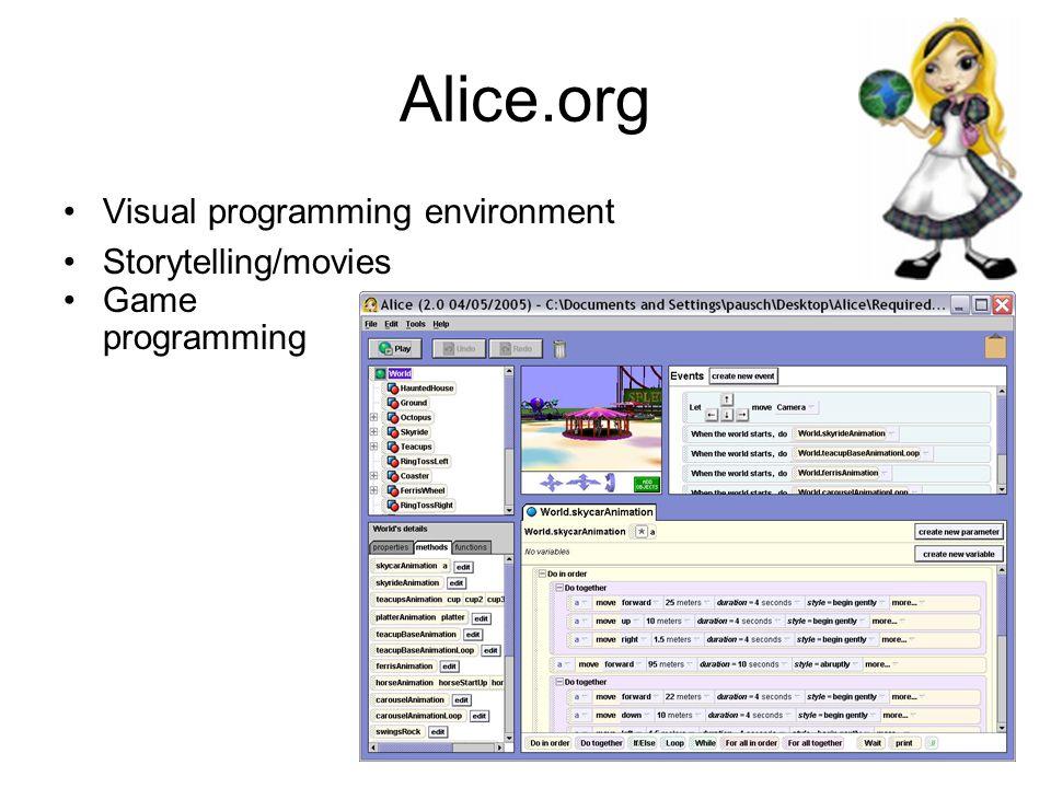 Alice.org Visual programming environment Storytelling/movies