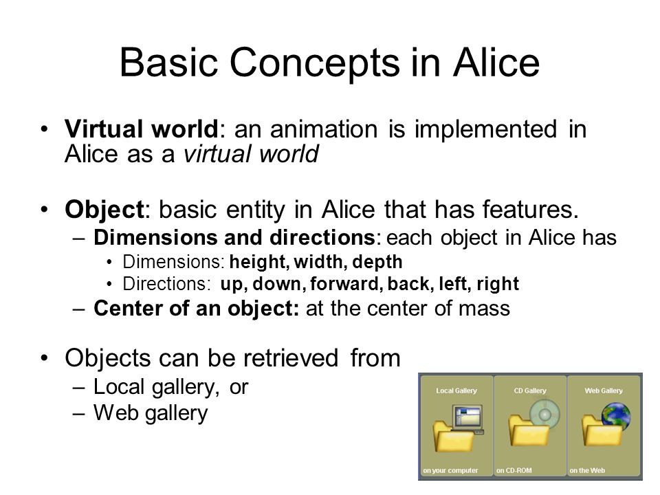 Basic Concepts in Alice