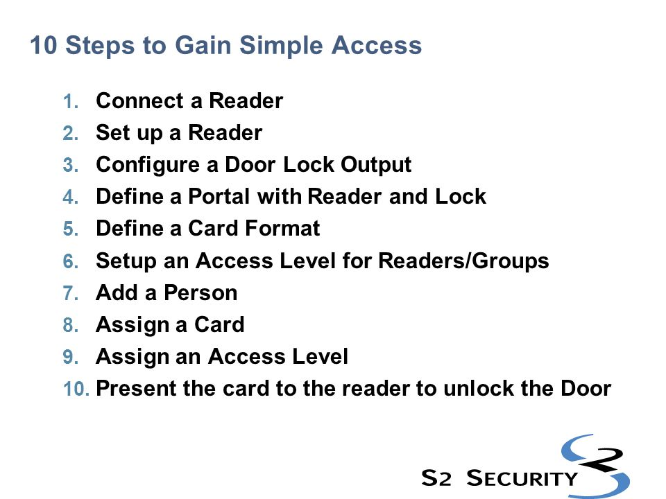 10 Steps to Gain Simple Access