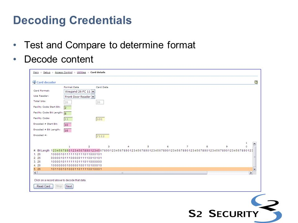 Decoding Credentials Test and Compare to determine format