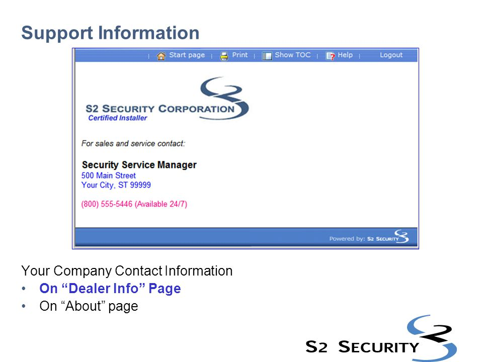 Support Information Your Company Contact Information On Dealer Info Page On About page