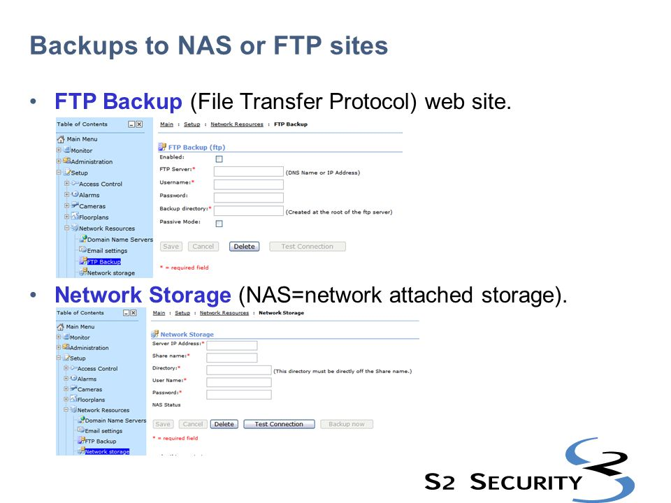 Backups to NAS or FTP sites