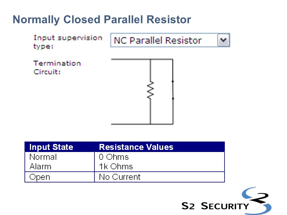 Normally Closed Parallel Resistor