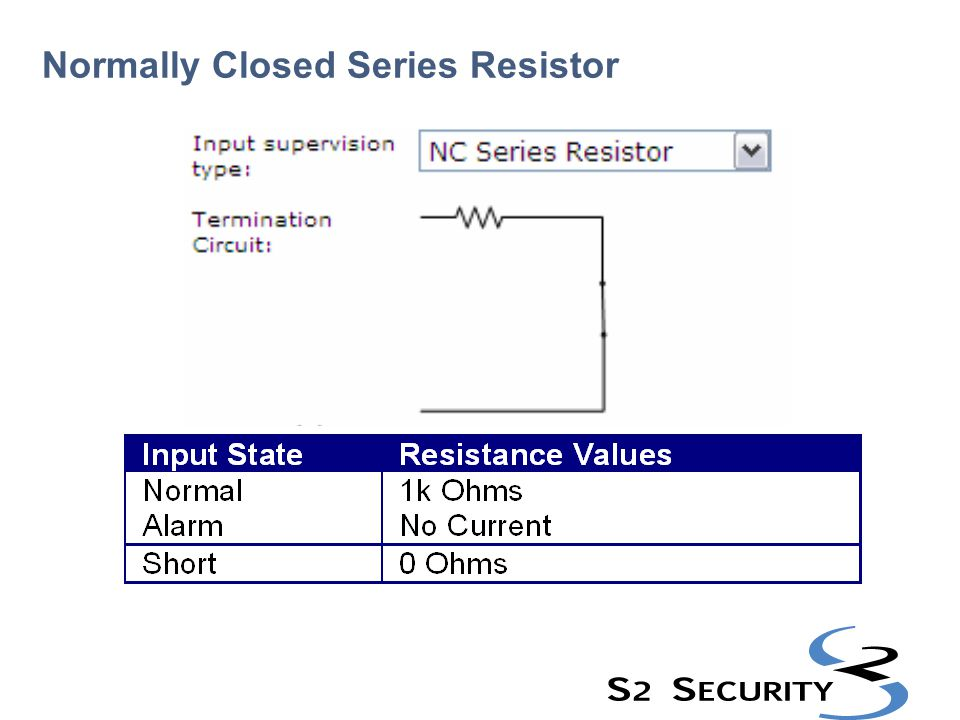 Normally Closed Series Resistor
