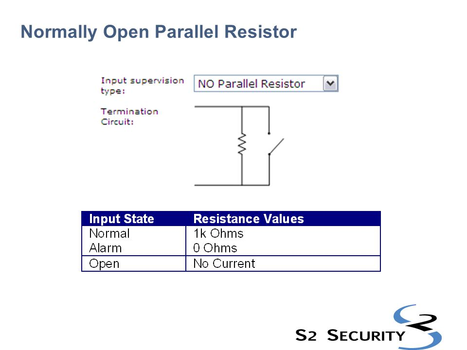 Normally Open Parallel Resistor