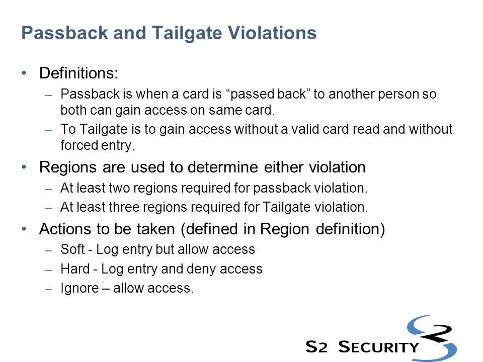 Passback and Tailgate Violations