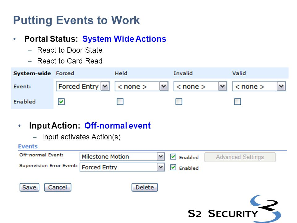 Putting Events to Work Portal Status: System Wide Actions