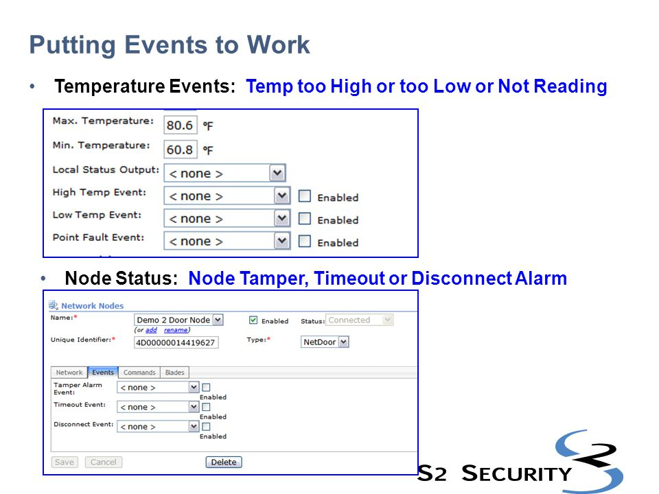 Putting Events to Work Temperature Events: Temp too High or too Low or Not Reading.