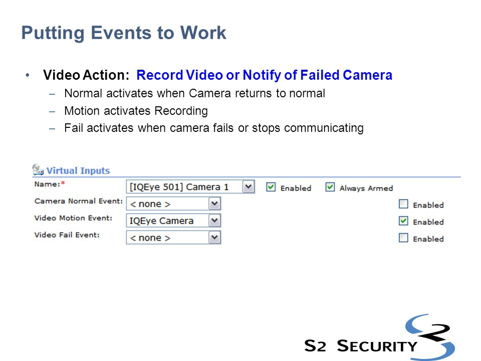 Putting Events to Work Video Action: Record Video or Notify of Failed Camera. Normal activates when Camera returns to normal.