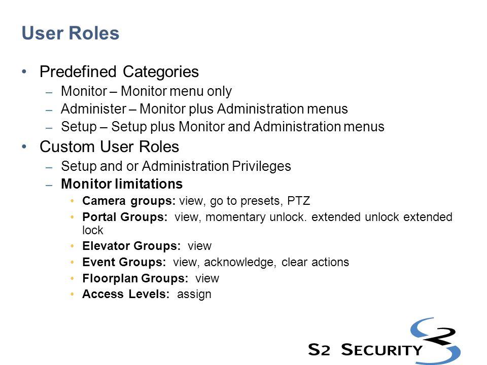 User Roles Predefined Categories Custom User Roles