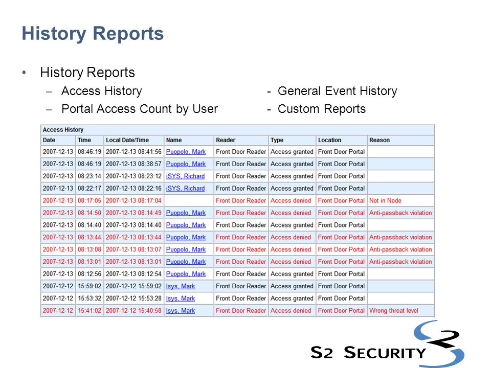 History Reports History Reports Access History - General Event History