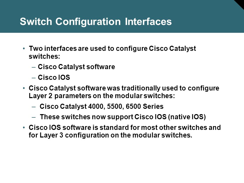 Switch Configuration Interfaces