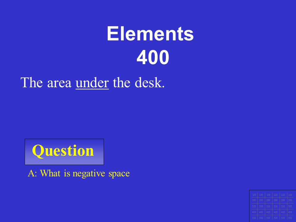 Elements 400 Question The area under the desk.