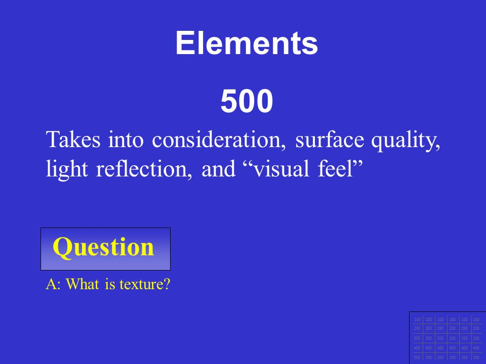 Elements 500. Takes into consideration, surface quality, light reflection, and visual feel Question.