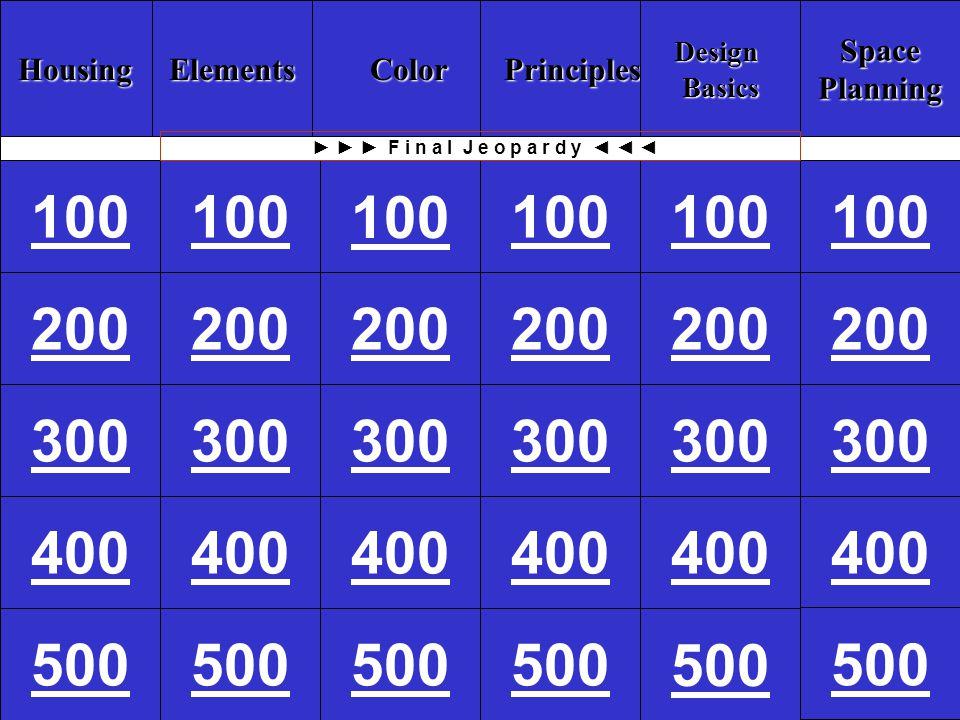 Housing Elements Color Principles Design Basics Space Planning