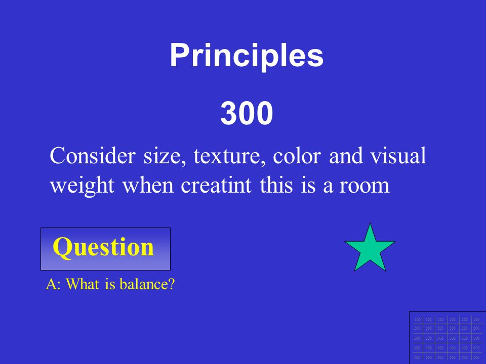 Principles 300. Consider size, texture, color and visual weight when creatint this is a room. Question.