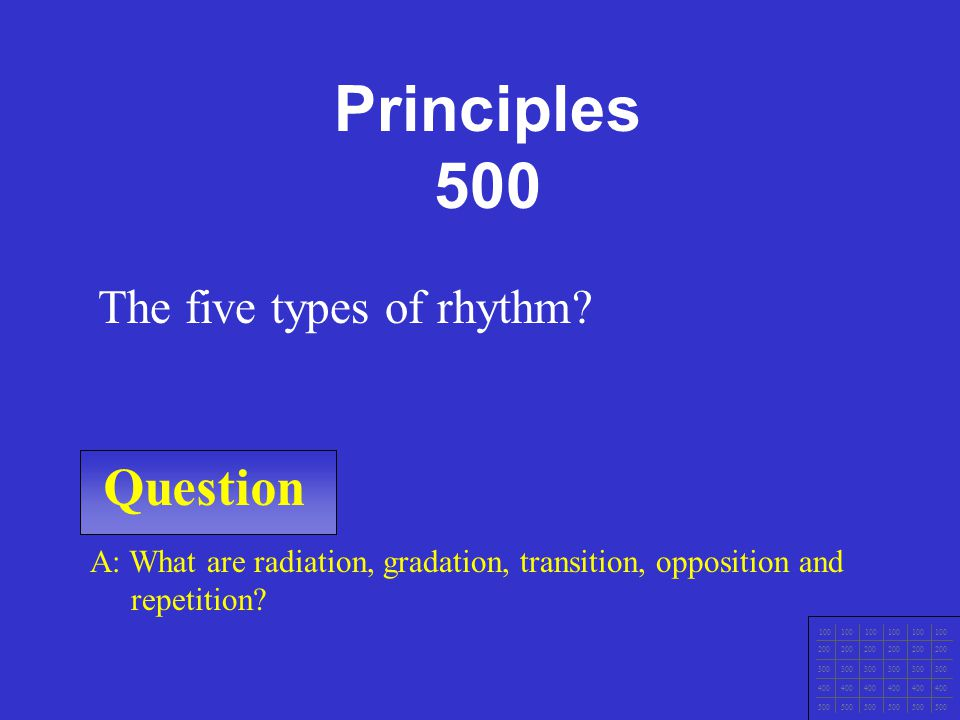 Principles 500 Question The five types of rhythm
